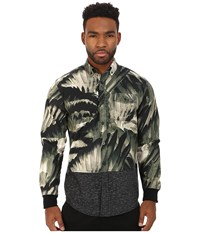 Staple Feather Camo Woven Olive Men's Long Sleeve Button Up