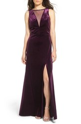 Morgan And Co. Women's Illusion Stretch Velvet Gown Plum