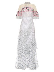 Peter Pilotto Crochet Trimmed Silk Georgette Dress White Multi