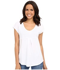 Mod O Doc Supreme Jersey Short Sleeve Tee With Contrast Panel White Women's Blouse