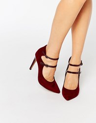 London Rebel Strappy Point Heeled Shoes Burgundy Mf Pat Red