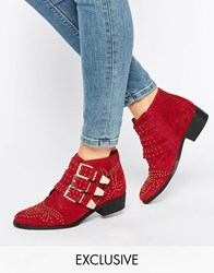 Office Alloy Stud Red Suede Ankle Boots M Cow Suede Red Excl
