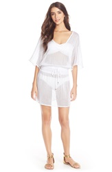 Vitamin A 'Honeycomb' Net Cover Up Tunic White Honeycomb