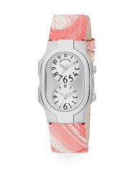 Philip Stein Teslar Signature Stainless Steel Dual Time Zone Leather Strap Watch Coral White