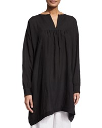 Eskandar Long Sleeve Peasant Smock Top Black Women's