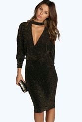 Boohoo Metallic High Neck Plunge Bodycon Dress Black