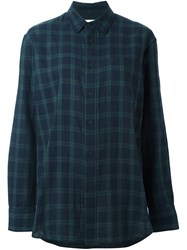 Rag And Bone Jean Checked Long Sleeve Shirt Blue