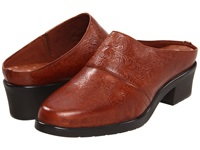 Walking Cradles Caden Tan Tooled Leather Women's Clog Shoes Mahogany