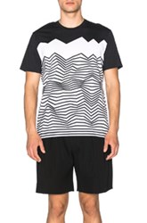 Neil Barrett Engineered Nautical Stripe Tee In Black White Geometric Print