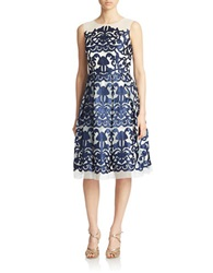 Cachet Ivy Jacquard Fit And Flare Dress Navy Ivory