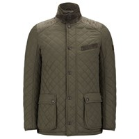 Knutsford Men's Quilted Jacket With Cashmere Blend Lining Khaki Green