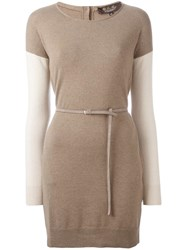Loro Piana Belted Knit Dress Brown