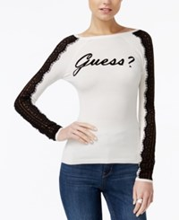 Guess Holly Lace Trim Graphic Sweater Scuffy