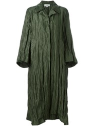 Isa Arfen Oversized Creased Coat Green