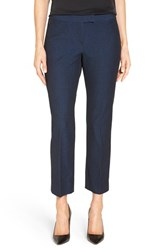 Nordstrom Women's Collection Techno Stretch Crop Pants Black Blue Mazarine Pattern