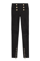 Balmain Skinny Jeans With Embossed Buttons Black