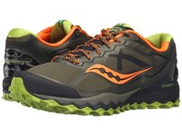 Saucony Peregrine 6 Olive Green Orange Men's Shoes Brown