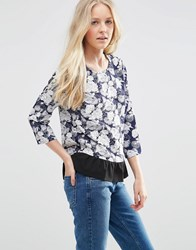 Vila August 3 4 Sleeve Floral Blouse Vila August 3 4 Slee Black