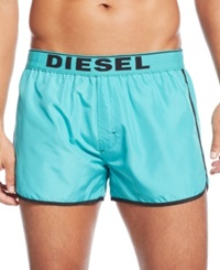 Diesel Reversible Logo Swim Trunks Turquoise