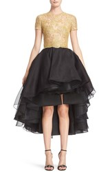 Reem Acra Women's Reembroidered Lace And Organza High Low Dress