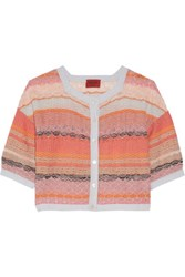 Missoni Metallic Crochet Knit Cardigan Peach
