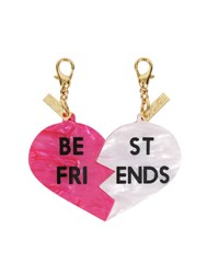 Edie Parker Best Friends Bag Charms Hot Pink White Hot Pink White