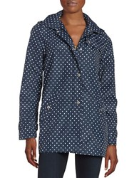 Weatherproof Hooded A Line Jacket Navy Polka Dot