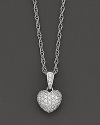 Bloomingdale's Pave Diamond Heart Pendant In 14K White Gold 0.25 Ct. T.W. No Color