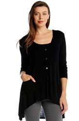 Karen Kane Lightweight High Low Cardigan Black
