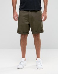 Armani Jeans Chino Shorts With Eagle Logo Olive Green