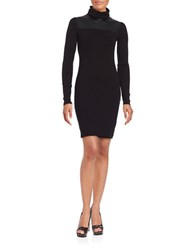 Bailey 44 Leatherette Panel Accented Long Sleeve Bodycon Dress Black