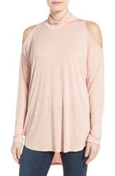 Bobeau Women's Cold Shoulder Mock Neck Top Pink Smoke
