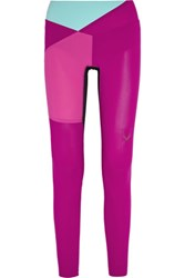 Lucas Hugh Color Block Mesh Paneled Stretch Leggings Purple