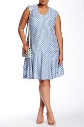 Taylor Printed Ruffle Dress Plus Size Blue
