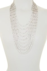 Cristabelle Layered Crystal Waterfall Necklace Metallic