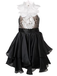 Marchesa Embellished Ruffle Dress Black