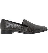 Dune Gray Slipper Cut Patent Leather Loafers Grey Reptile