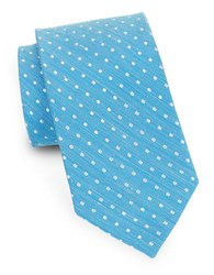 August Silk Dotted And Linen Tie Blue