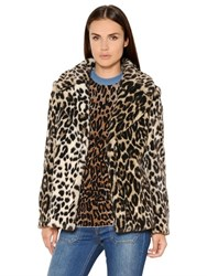 Stella Mccartney Leopard Printed Faux Fur Coat