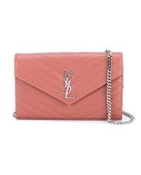 Saint Laurent Monogram Chain Wallet Rose Silver Black