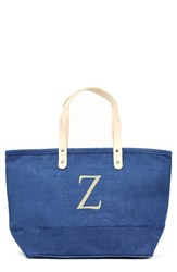 Cathy's Concepts 'Nantucket' Personalized Jute Tote Blue Blue Z