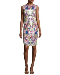 Roberto Cavalli Floral Print Sleeveless Sheath Dress Purple