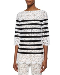 Michael Kors Collection 3 4 Sleeve Striped Floral Lace Blouse Women's Size 8 Optic White