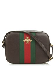Gucci Line Bee Embroidered Leather Cross Body Bag