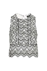 Topshop Petite Lace Mono Shell Top Monochrome