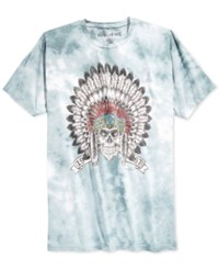 Ring Of Fire Tie Dye Chief Head T Shirt Blue White Tie Dye