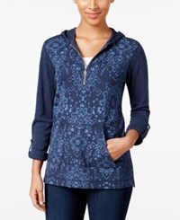 Styleandco. Style Co. Printed Zip Neck Hoodie Only At Macy's Industrial Blue