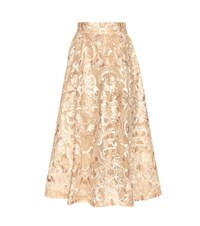 Ganni Evans Cotton Lace Skirt Neutrals