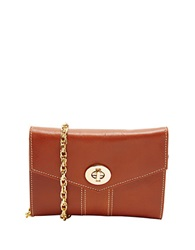 Tusk Medium Leather Crossbody Clutch Tan