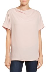 Pleione Women's Short Sleeve Drape Neck Top Pink Smoke
